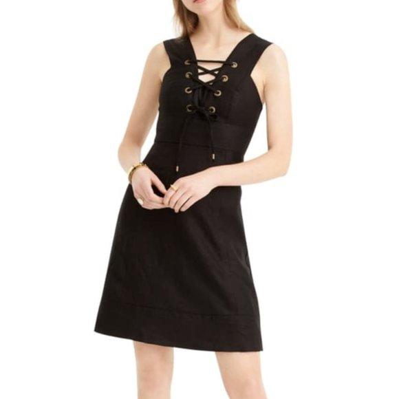 J. Crew Linen Lace Up Dress Size 8